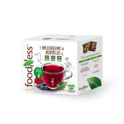 10 capsule FoodNess tisana melograno e mirtillo compatibili Dolce Gusto